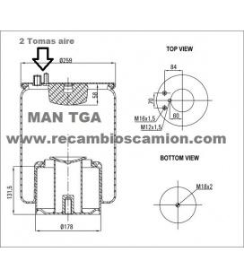 Suspension neumatica fuelle MAN TGA.