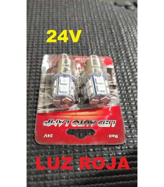 2 LAMPARAS 24V LUZ ROJA LEDS SMD