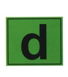 Adhesivo cuadrado con letra d