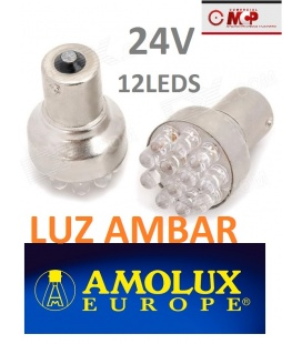 BOMBILLA NARANJA 24V- 12 LEDS AMOLUX